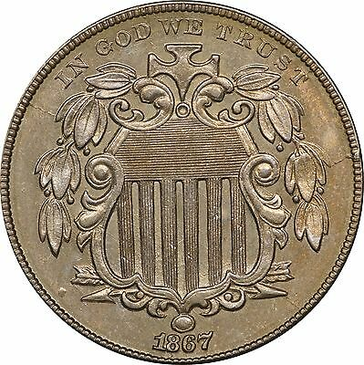 1867 Shield Nickel About Uncirculated AU