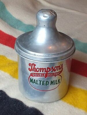 """THOMPSON'S ''Double Malted"""" Malted Milk ALUMINUM Container VG Cond"""