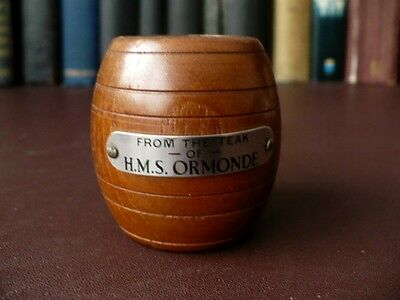 1930's Match Holder In The Shape Of A Barrel Made From The Teak Of HMS Ormonde