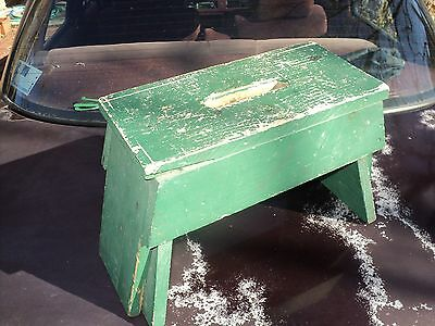 Vintage Pine Bench Early 1900's Original Paint 14In. Long  x 7 In. x 10 3/4 Hi