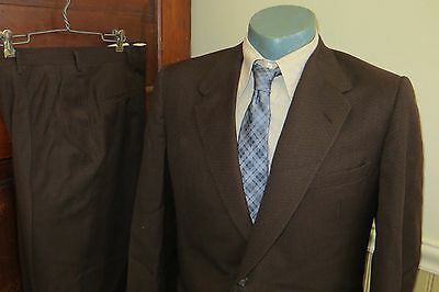 Vintage 50s Fashion Park Custom Tailored Brown Wool Gabardine 2 Button Suit, 42