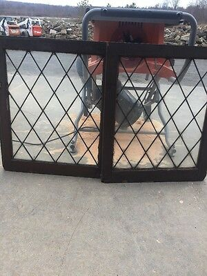 Sg 68Matched Pair Antique Diamond Pattern Windows