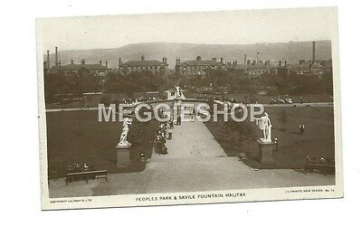 Yorkshire: Halifax : Peoples Park & Savile Fountain - Old Real Photo Postcard