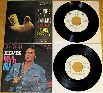 """Elvis RAREST Italy PROMO NOT FOR SALE 45's """"No More"""" & """"Rags To Riches"""" '62-'71"""