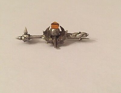 Gorgeous Silver Scottish Citrine Thistle Bar Brooch Pin
