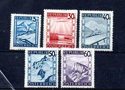 set of 5 mint 1945 stamps from austria