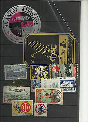 USA airlines luggage labels and various vignette stamps exhibitions etc scarce