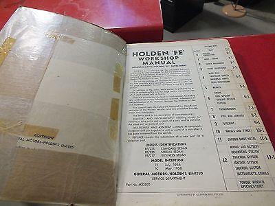 Holden FE FC  Workshop Manual Like New Condition.