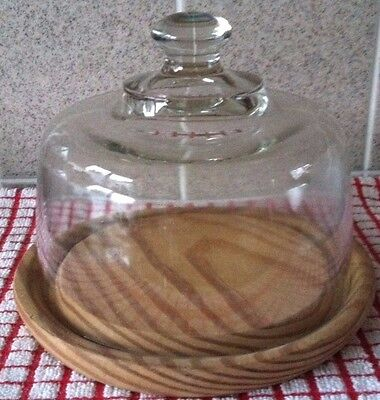 Glass & Wooden Cheese Dish