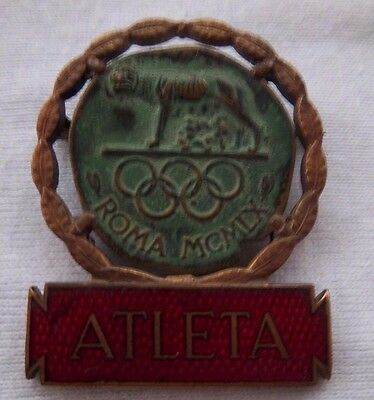 Orig.participant pin   Olympic Games ROM (Italy) 1960 - ATHLET  !  EXTREM RARITY