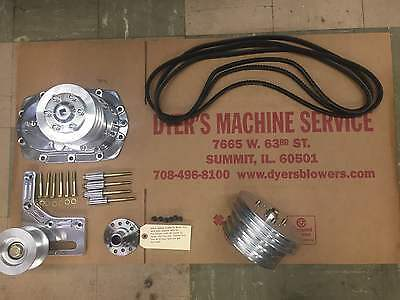 671 SBC Small Block Chevy Dyer's Blower Nostalgia V-Belt Drive Kit Polished New