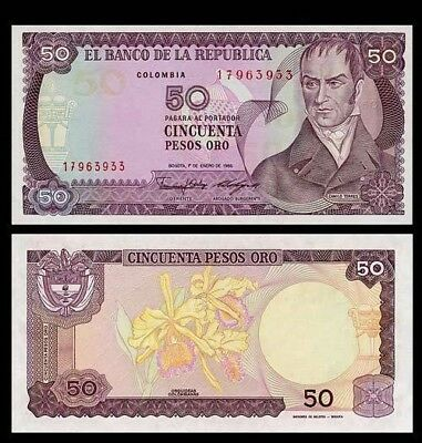 50 PESOS ORO Banknote COLOMBIA 1986 - Torres & ORCHID - Pick 425 - UNC