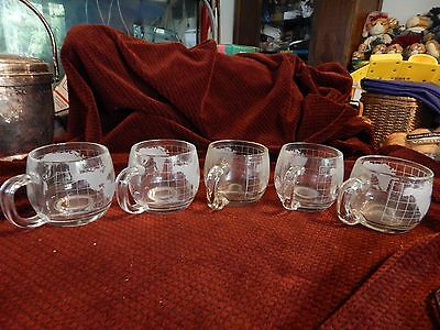5 Vintage Nescafe Nestle Frosted Glass World Globe Coffee Mugs Cups