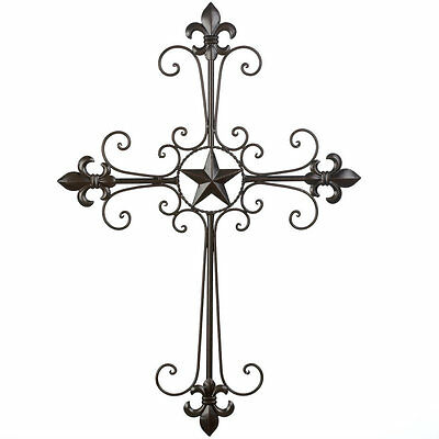 Wrought Iron Fleur de Lis Scrolled Wall Cross