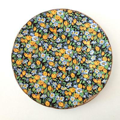 """Unmarked Vintage Yellow Blue Black Floral Chintz Dinner Plate 26.5cms 10.5"""""""