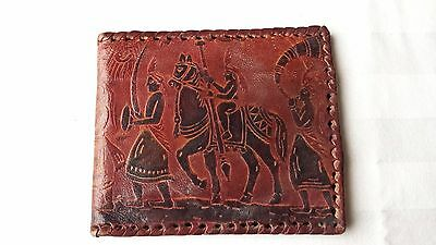 Vintage Hand Tooled Leather Wallet with Soldiers