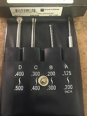"""BROWN AND SHARPE 599-596 Small Hole Gage Set .125""""- .5"""" With Pouch"""