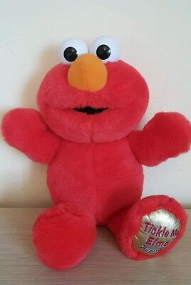 """Tickle Me Elmo From Sesame Street 14"""" Giggling / talking, Vibrating Soft Toy"""