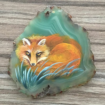 New! Hand Painted Fox Agate Slice Gemstone Necklace Pendant Zp80 00167