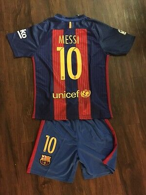 2017 Barcelona #10 Messi Home Soccer Kids Jersey + Shorts Size 26 (10 - 11 Years