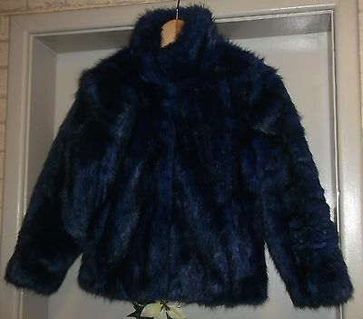 Girls NEXT Blue/Black Faux Fur Coat Jacket Age 7-8 Years Silky Soft Warm