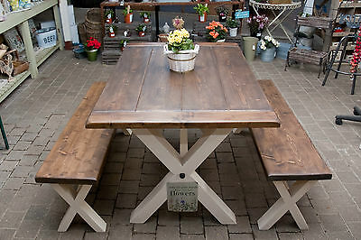 Solid Thick Wood FARMHOUSE TABLE and/or BENCHES You choose the colour and size