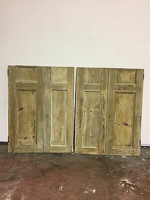 Pair of Original Stripped Pine Victorian Window Shutters S3
