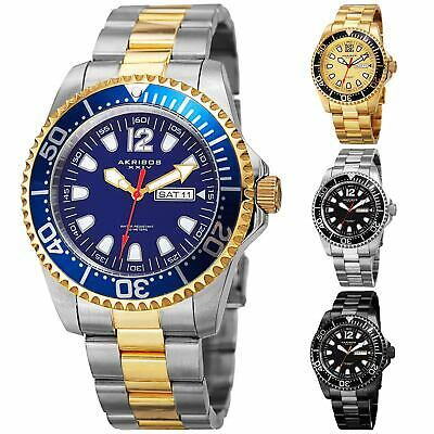 Men's Akribos XXIV AK947  Diver Style Day Date Stainless Steel Bracelet Watch