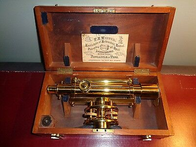 Rare 19th Century T.B. Winter Brass Surveyor's Level w/ Original Box & Label