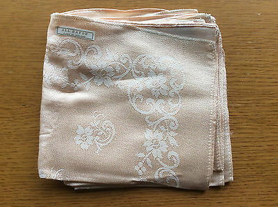 6x Vintage 1960s 1970s Rayon Cloth Napkins, Peach Pink Floral, Made In Ireland