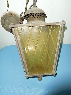 VINTAGE STAINED GLASS BRASS LIGHT FIXTURE AGED PATINA for PORCH FOYER ENTRY