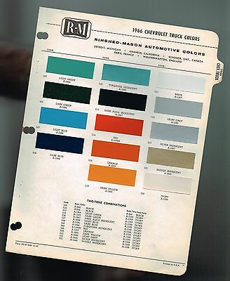 1966 Chevy TRUCK Color Chip Paint Sample Brochure / Chart: PickUp,