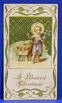 Antique Holy Card Chromolithograph Christ Child At Manger A Blessed Christmas