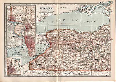 1903 Britannica Antique Map Usa New York West Buffalo Rochester