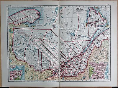 1920 Map -Post Ww1- Canada, Quebec, Inset Labrador Peninsula,montreal,quebec