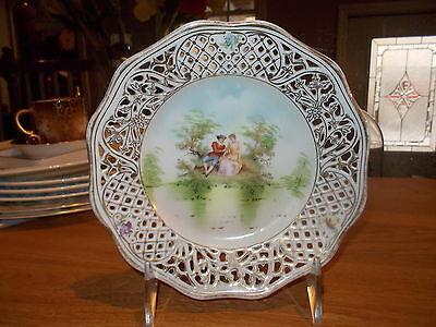 """Vintage 6"""" Carl Schumann Bavaria Courting Couple Reticulated Plate"""
