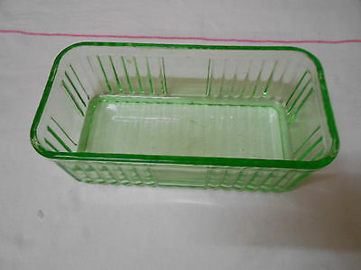 Green Depression Glass Oblong  Butter Dish