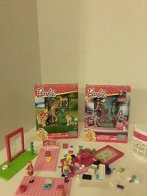 NEW 2 sets of Barbie Mega Bloks - CNK35 STABLES - AND CNF75 ROCK and Royals.XMAS