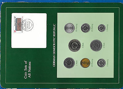 Coin sets of all nations GDR East Germany UNC 1980-1987 1 Mark 1987