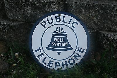 Bell System Porcelain Public Telephone Sign