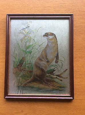 Vintage 1970s 1980s Otter Picture, Wooden Frame, Mahogany & Gold, Foil Etched