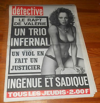 Rare Affiche Originage Revue Detective Annees 70.pin Up...ingenue Et Sadique