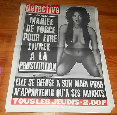 Rare Affiche Originage Revue Detective Annees 70..pin Up ..mariee De Force