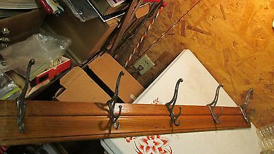 Antique Oak & Iron Hook Coat & Hat Rack- 38""
