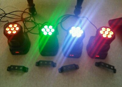 4 x stagg headbanger LED moving lights & padded carry case. DMX stage lighting