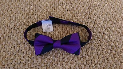 Janie and Jack Purple and Midnight Blue Stripe Bow Tie (Baby and Toddler)
