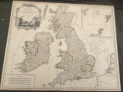 Antique map of the British islands printed 1754 Vaugondy Engraved by Dussy