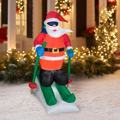 animated  skiing santa airblown inflatable 6ft. tall new in box yard decor new