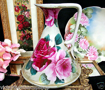 Nippon Hand Painted Large Pitcher Huge Painted Roses Pattern