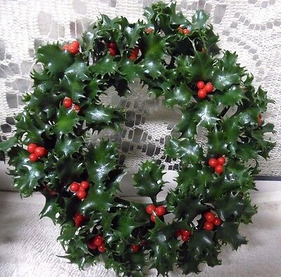 4 VTG CHRISTMAS wIndow candle table decoration PLASTIC WREATH RING Holly Berries